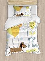 I Love You постельное белье собака с воздушными шарами и концепция сердца солнце облака щенок best друзья, 4 шт. Постельное белье