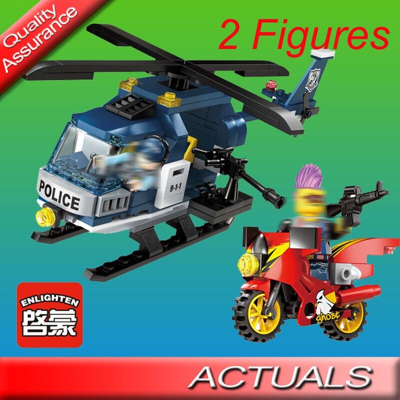 157 Pcs Enlighten 1905 Thunder Sniper Stad Politie Helicopter Bouwsteen Baksteen Speelgoed Compatibel Alle Merk Gangster Ham Diana Voldoende Aanbod