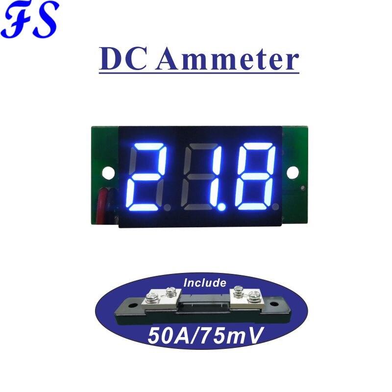 Амперметр постоянного тока с шунтом, 50 А, 75 мВ, светодиодный цифровой индикатор Тока 0,36 дюйма, источник питания, постоянный ток 4,5-30 в, панельн...