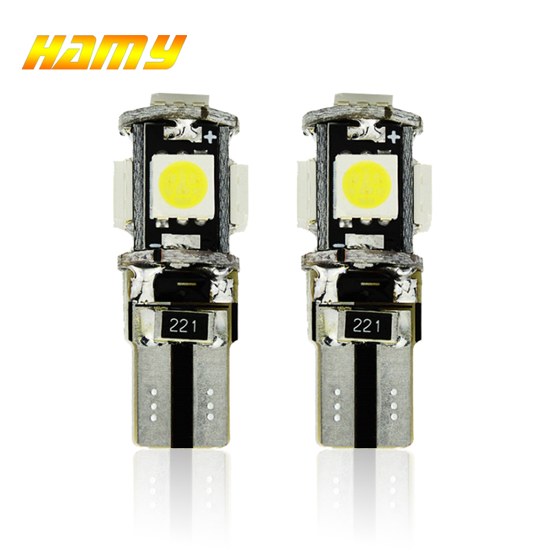 2x T10 W5W LED Canbus 5W5 Bulbs For Car Interior Light 12V White Auto Turn Wedge Side License Plate Trunk Luggage Lamp 5050 5SMD
