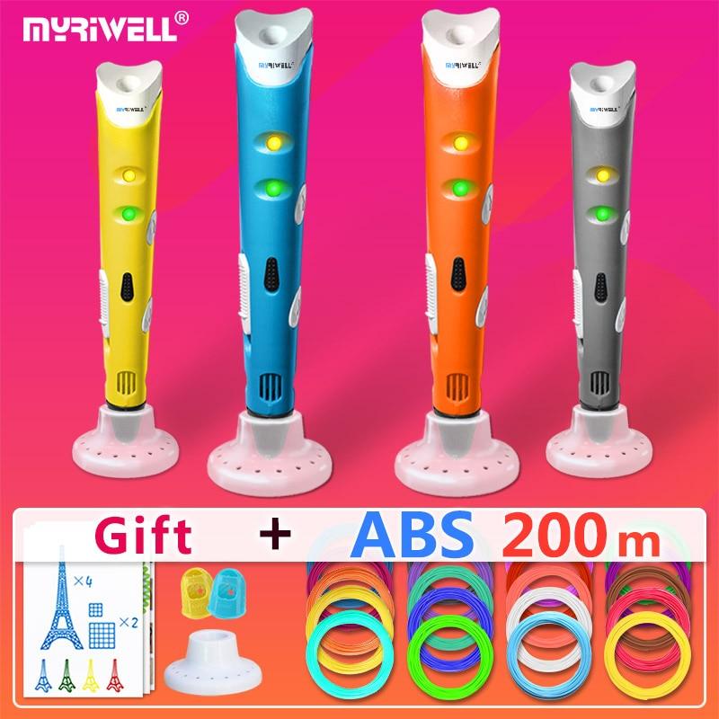 Myriwell 3d stylos + 20*10 m ABS Filament, 3 d stylo 2017 Smart 3d imprimé stylo Meilleur Cadeau pour les Enfants, 3d impression stylo 3d modèle, 1.75mm pla
