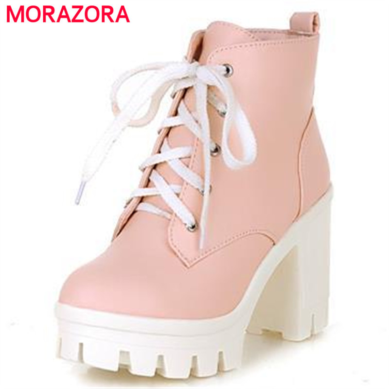 где купить MORAZORA 2017 New Fashion sexy women's ankle boots lace up high heels Punk platform Women autumn winter snow boots ladies shoes по лучшей цене