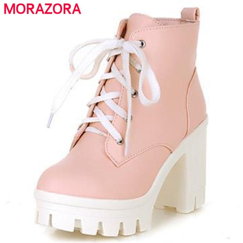 MORAZORA 2017 New Fashion sexy women s ankle boots lace up high heels Punk platform Women