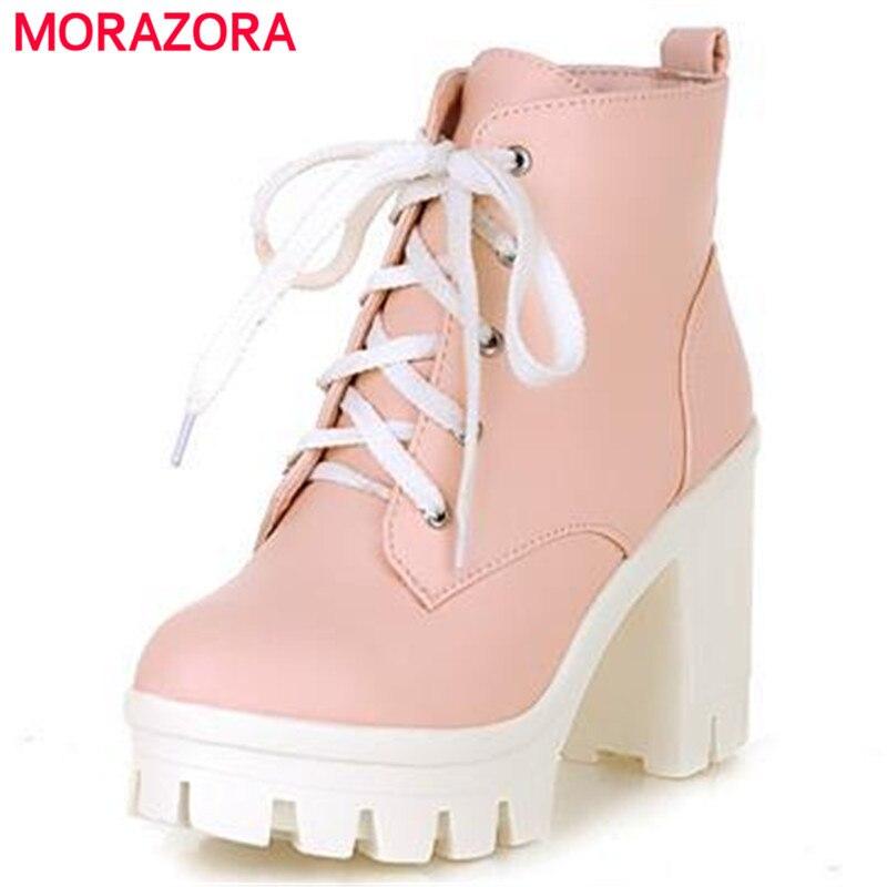 MORAZORA 2018 Neue Mode sexy frauen stiefeletten lace up high heels Punk plattform Frauen herbst winter schnee stiefel damen schuhe