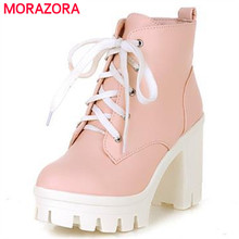 MORAZORA 2018 New Fashion sexy women's ankle boots lace up high heels Punk platform Women autumn winter snow boots ladies shoes
