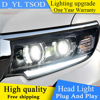 Car Styling For Toyota Prado Headlights 2018 LED Head lamp LED DRL High Low lamp Full LED Double lens LED Automobile Accessories