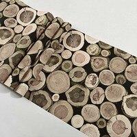 53CM×10M Wallpapers 3D Modern Personality Round Wood Stake Wood Grain Wood Nostalgic Retro Bar Restaurant Wallpaper