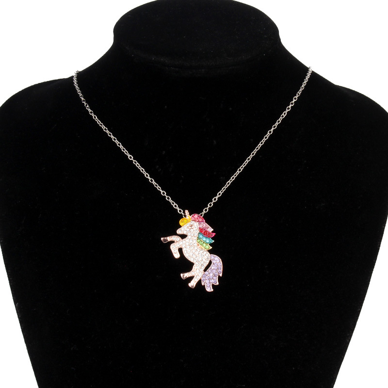 HTB1XvLmbffsK1RjSszgq6yXzpXaQ - Cute Unicorn Necklace Fashion Cartoon Horse Jewelry Accessories For Girls Children Kids Women Party Animal Pendant Bracelet Set