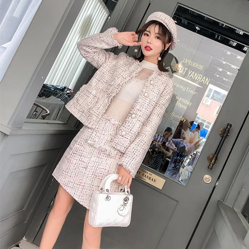 Jupe Moulante 2018 Ensemble Deux Laine Manteau Gland Automne De White Costume Femme Hiver Tweed Pièces Élégant Veste Femmes aBW1nZB