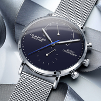 GUANQIN Top Brand Luxury Mens Watches Chronograph Strap Quartz Watch Clock Men Business Casual Creative Mesh Relogio Masculino A
