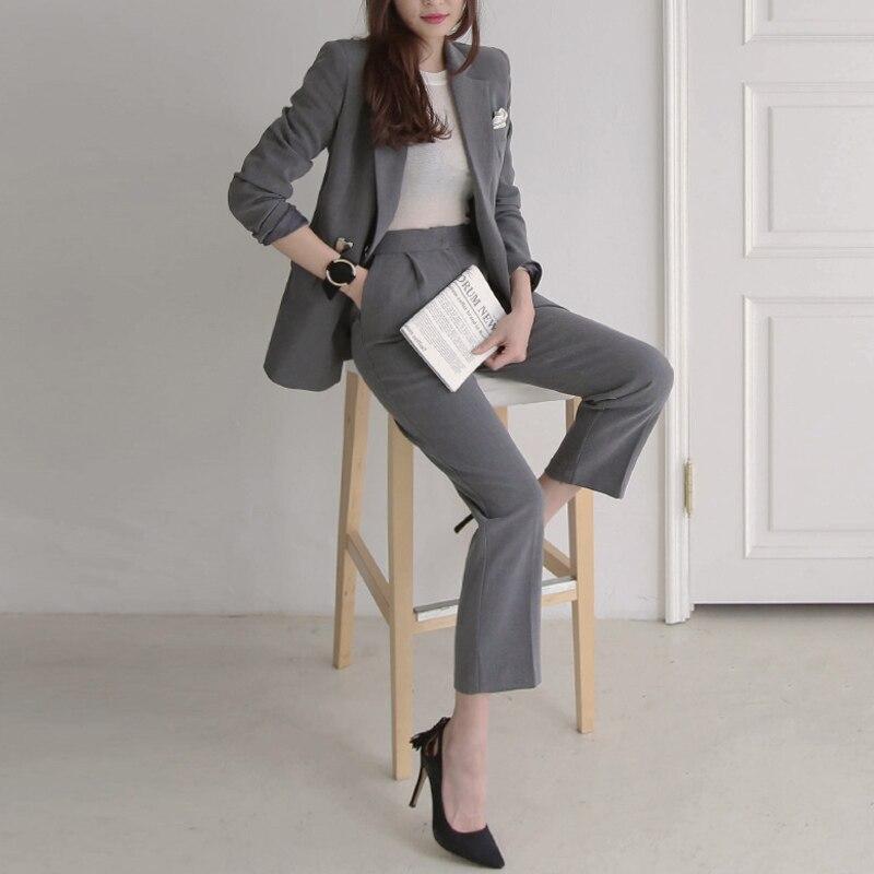 Cappotto 2018 Suit Button Molla Donne Manica Sottile Nuova Rugod E Arrivo Wear Dritti Signore Pantaloni Work Blazer Lunga Di 87xw8Hgr