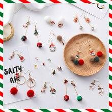 Modern Women's Earrings 2018 Cartoon Christmas tree Hairball Women Dangle Earring Korean Fashion Cute Female Jewelry Accessories