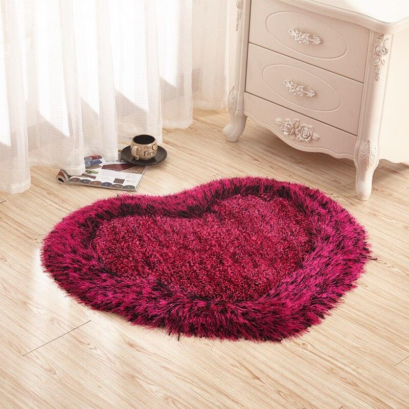 Amour coeur en forme de paillasson antidérapant doux salle de bain tapis de sol pour chambre tapis tapis salon
