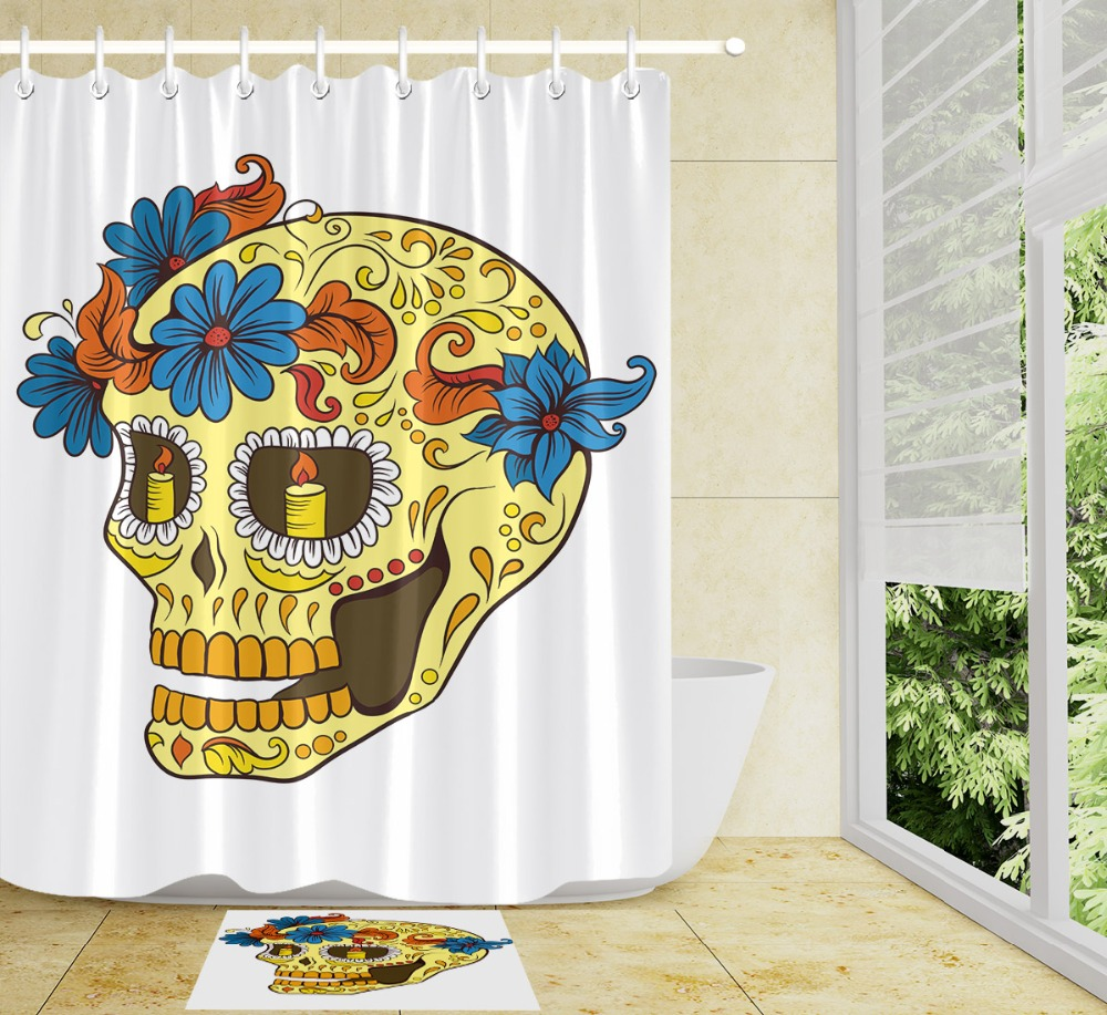 LB Blue Flower Funny Gothic Yellow Sugar Skull White Shower Curtains Polyester Bathroom Curtain Set Fabric  for Bathtub Decor