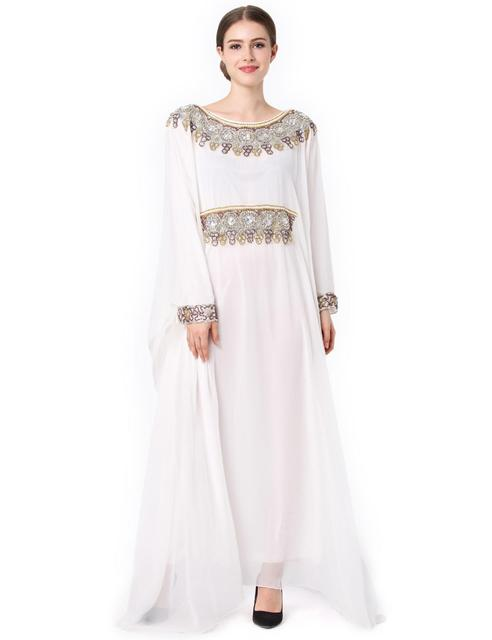 fashion abaya muslim long dress luxury chiffon embroidery women