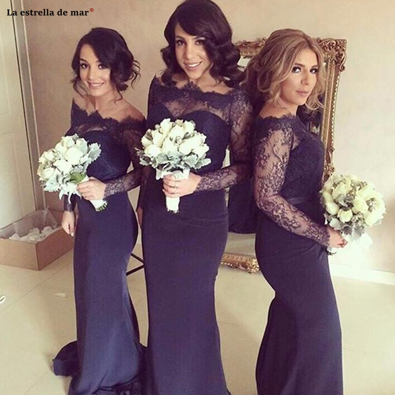 Vestidos boda largos invitada2019 new lace satin long sleeve navy blue sexy mermaid beach   bridesmaid     dresses   advanced custom