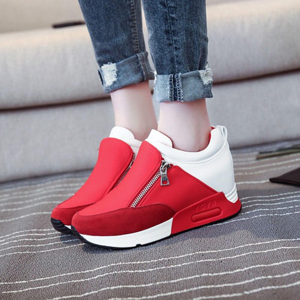 2411c2b675ffce Chaussures Cours forme Plate Automne Sport Printemps Baskets Noir Compensée  Randonnée Étudiants Dames Noir rouge De Fond En Femme ...