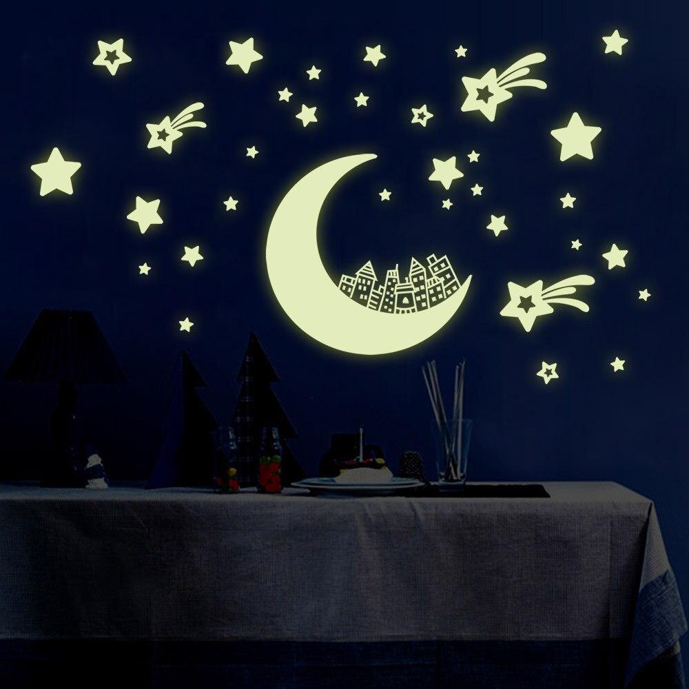 *Sticker Moon Stars Wall Stickers DIY Night Light Glow in the Dark Kids Children Bedroom Home Decor Decals Wallsticker room