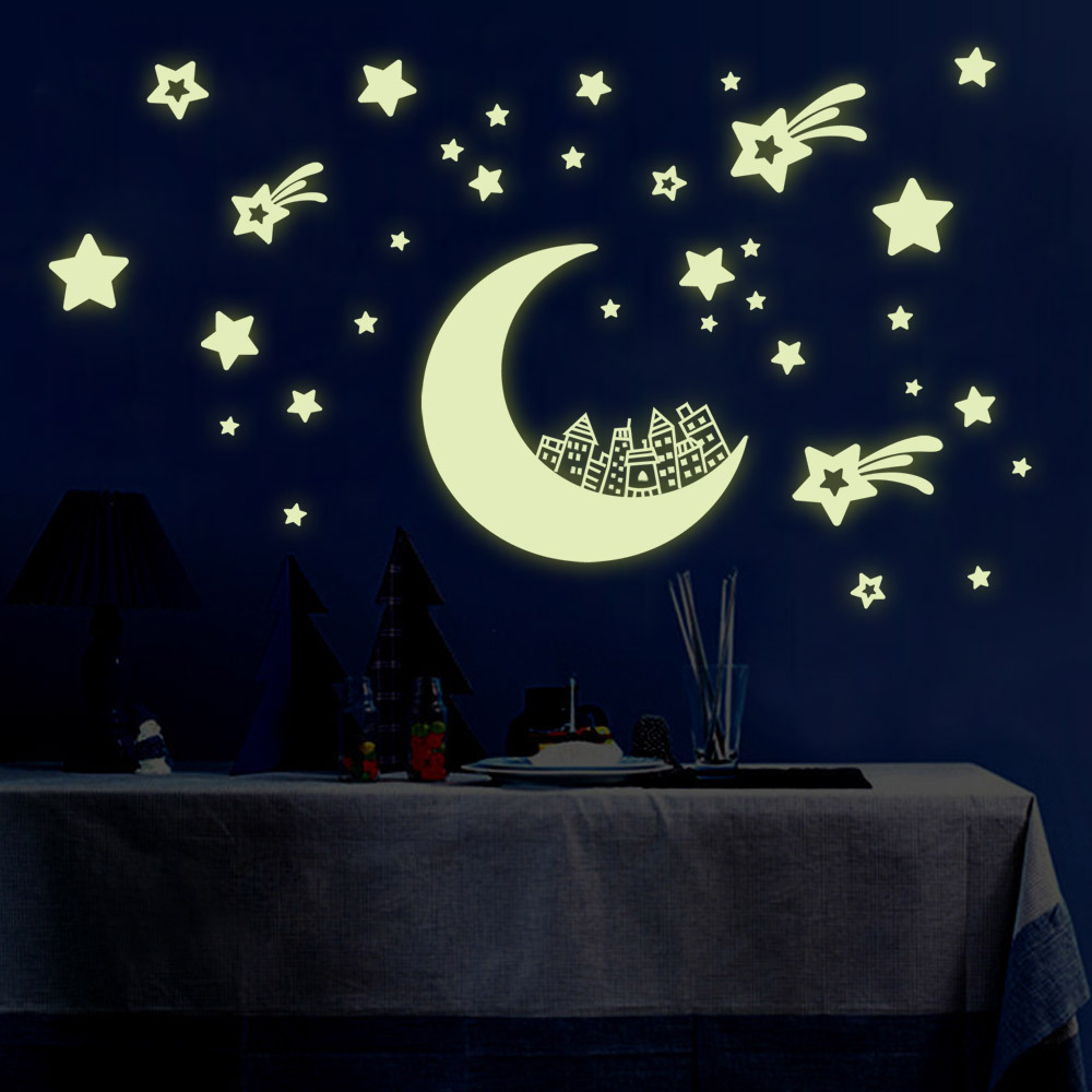 Wall stickers glowing -  Sticker Moon Stars Wall Stickers Diy Night Light Glow In The Dark Kids Children Bedroom