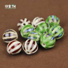 16mm Watermelon Shape Handmade Ceramic Bead Green Dark-Red Porcelain Charm Bead DIY Jewelry Making Findings 84(China)