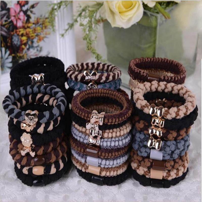 Women Elastic Hair Bands Fashion Jewelry Hair Accessories Bows Headbands Adorable Ponytail Scrunchy Girls Ornamental Gum 4pcs
