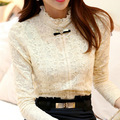 Mulheres blusa da moda tops 2016 de Lã Grossa Mulheres Crochet Blusa de Renda Camisa Mulheres Blusas Roupas Femininas Blusas & Camisas
