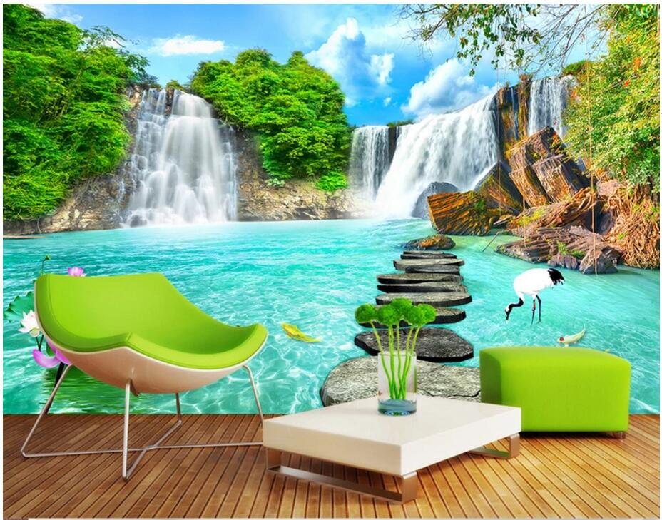 Custom 3d Mural Wallpapers Hd Landscape Mountains Lake: Custom Mural 3d Photo Wallpaper Mountain Waterfall Lake