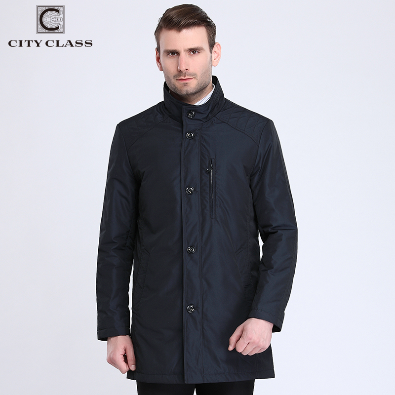 City Class 2017 Fashion Trench Coats Long Jackets Cotton-padded Warm Spring Autumn Bussiness Style Overcoat Stand Collar 17017