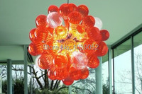 Round Shape Hand Blown Art Glass Crystal Ball Chandelier In Red