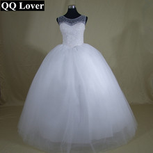 QQ Lover 2017 New Luxury Pearls Beaded Ball Gown Wedding dress Bridal Gown Custom made Vestido De Noiva