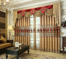 2018 New European Luxury Curtains for Living Dining Room Bedroom Thicken Chenille Shading Embroidered