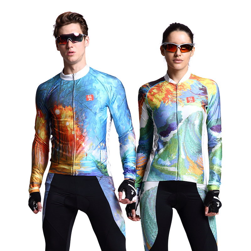 Men Women Cycling Sets With Breathable 3D Padded Spring Summer Bicycle Jersey Sets Clothes Bike Long