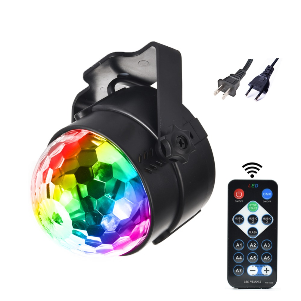 Mini RGB 3W Crystal Magic Ball Led Stage Lamp DJ KTV Disco Laser Light Party Lights Sound IR Remote Control Christmas Projector