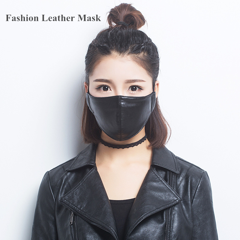 Fashion Leather Mask Anti PM2.5 Haze Dust Face Mask Black Personalized Anti-dust Mouth Mask PU Leather Riding Protective Mask leopard printed gas pollution anti dust and haze mouth mask