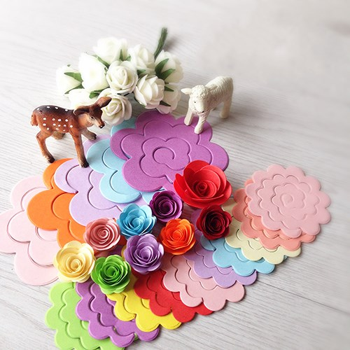 30pcs 10colors 75mm 75mm Flower Design Quilling Paper Crafts For