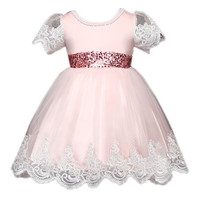 Infant Girls Kids Flower Princess Wedding Prom Party Dress With Big Bow Short Sleeved Tulle Lace