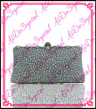 Aidocrystal grau kristall steinen gepflastert handtasche und slip-on hochhackige schuhe für party