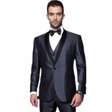 2016 New Custom Made Handmade 3 Piece Mens Wedding Suits Groom Tuxedos Dress Suits Formal Party Suits