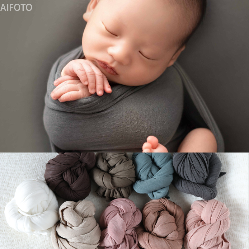 2019 New 30x150cm Newborn Photography Props For Background Baby Photo Super Strong Stretch Solid Wraps Cocoon Backdrops Flokati