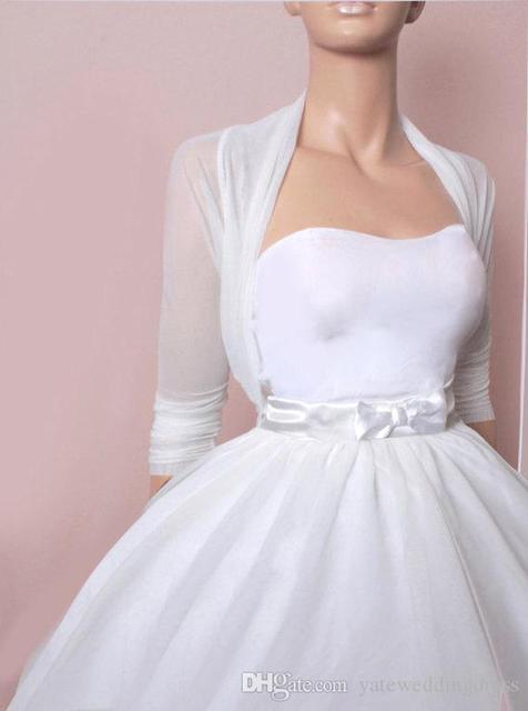 Simple White Bridal Jacket Bolero Women Half Sleeve Organza Feminino Wedding Accessories Wedding Jacket Acessorios Para Mulher
