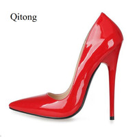 GZX116101 Fashion Woman Thin High Heels Patent PU Red Big Pumps Lady Sex Pointed Toe Shoes