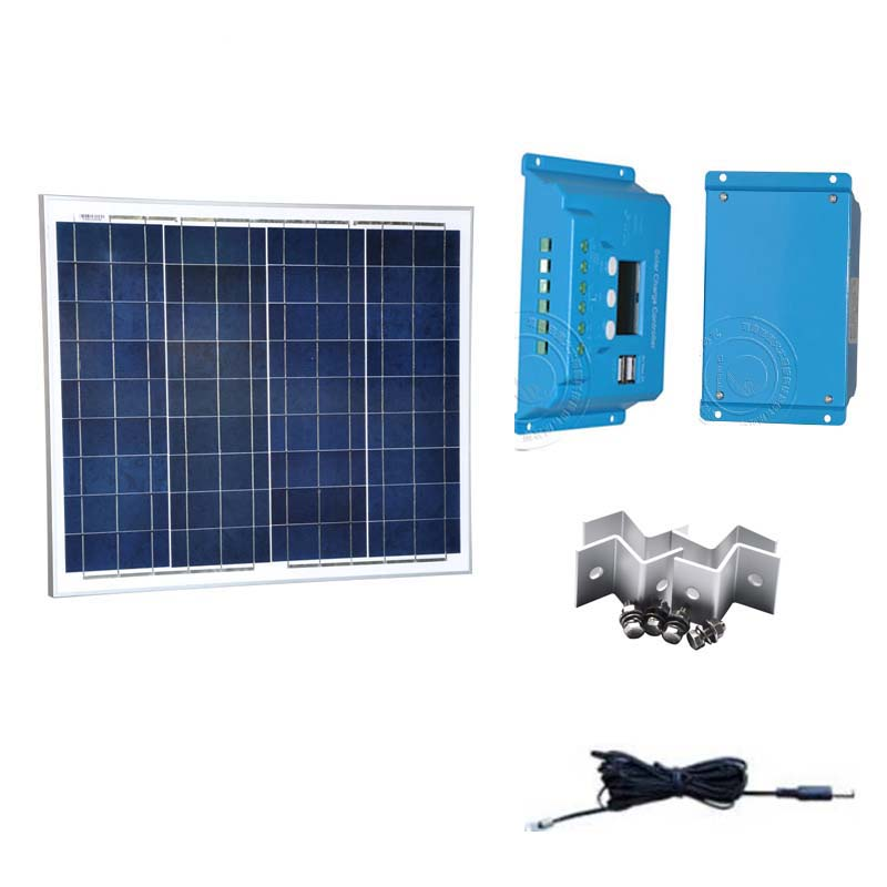 Panneau Solaire Kit 12v 50w Batterie Solaire Solar Charge Controller 12v 24v Auto LCD DC Cable Car Boat Fan Lamp Laptop Led in Solar Cells from Consumer Electronics