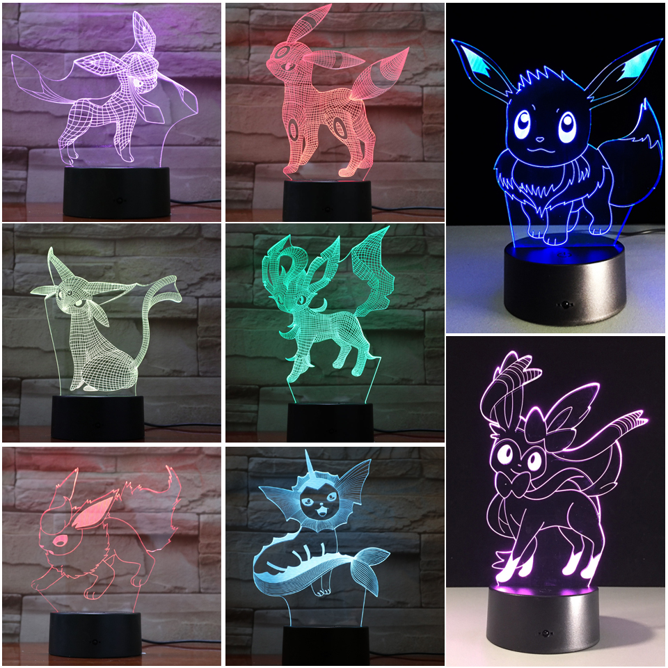 Kawaii Pokemon Game Eevee Family Series 3d Lamp Usb Cartoon Night Light Popular And Cool Led 7 Color Table Lamp Children Gifts