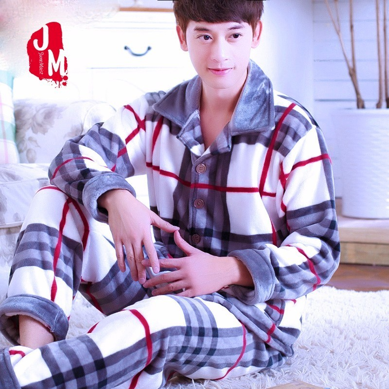 Men Pajama Set Winter Flannel Thick Warm Men Sleepwear Suit Long Sleeve Autumn Coral Fleece Pajama Man Homewear Pyjama Male XXXL