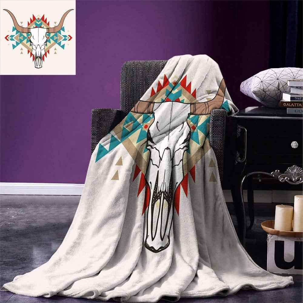 Westlichen Decke Bull Schädel Darstellung mit Ethnischen Ornament Tribal Geometrische Aztec Stil Warme Mikrofaser Decke
