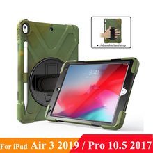 "Case with Pencil Holder for iPad Air (3rd Gen) 10.5"" 2019 / iPad Pro 10.5"" 2017, 360 Rotating Grip Stand Shockproof Rugged Cover"