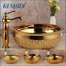 KEMAIDI Твердый латунный умывальник наборы смесителей Золотой роскошный керамический Санузел кран умывальник раковина для ванны комбинированный смеситель свободный слив