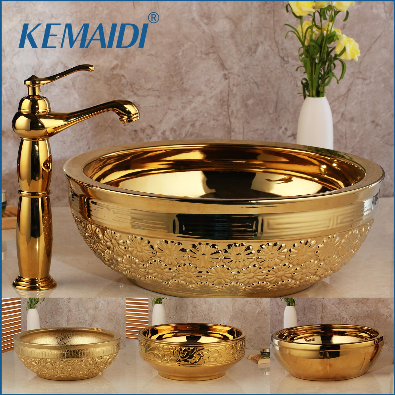 KEMAIDI Sólidos Conjuntos de Torneiras de Lavatório de Bronze Dourado Banho de Luxo Torneira Do Banheiro Lavatório Pia do Lavatório Em Cerâmica Combinar Misturador de Drenagem Livre