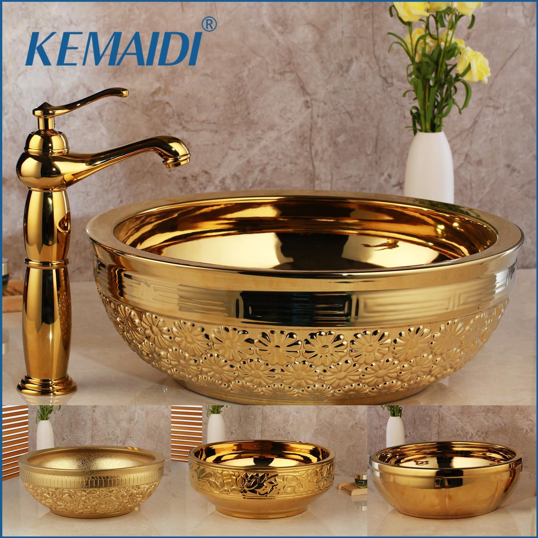 KEMAIDI Solid Brass Basin Faucets Sets Golden Luxury Ceramic Lavatory Bathroom Tap Washbasin Sink Bath Combine Mixer Free Drain