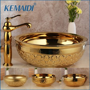 KEMAIDI Solid Brass Basin Faucets Sets Golden Luxury Ceramic Lavatory Bathroom Tap Washbasin Sink Bath Combine Mixer Free Drain(China)